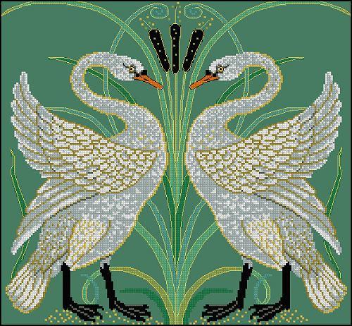 "Схема вышивки  ""Лебеди "": таблица цветов."